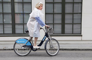 (Grayson Perry as Clare, on a 'Boris Bike' © Rob Greig/Time Out)