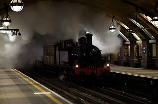 Underground steam train, London