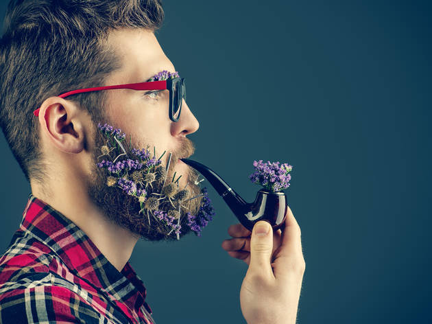 Are flower-beards the hottest new thing in NYC men's fashion? No.
