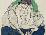 Egon Schiele, 'Crouching Woman with Green Kerchief', 1914