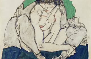 Egon Schiele (1890-1918) ('Crouching Woman with Green Kerchief', 1914)