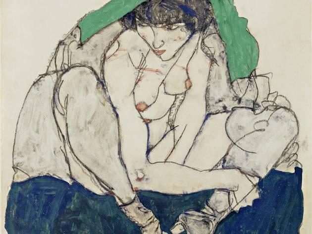 Egon Schiele (1890-1918) ('Crouching Woman with Green Kerchief', 1914)