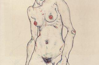 Egon Schiele (1890-1918) ('Standing Nude with Stockings', 1914)