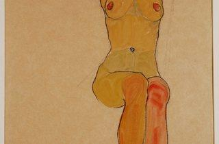 Egon Schiele (1890-1918) ('Seated Female Nude with Raised Arm (Gertrude Schiele)', 1910)