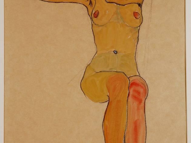 Egon Schiele (1890-1918) ('Seated Female Nude with Raised Arm (Gertrude Schiele)', 1910)