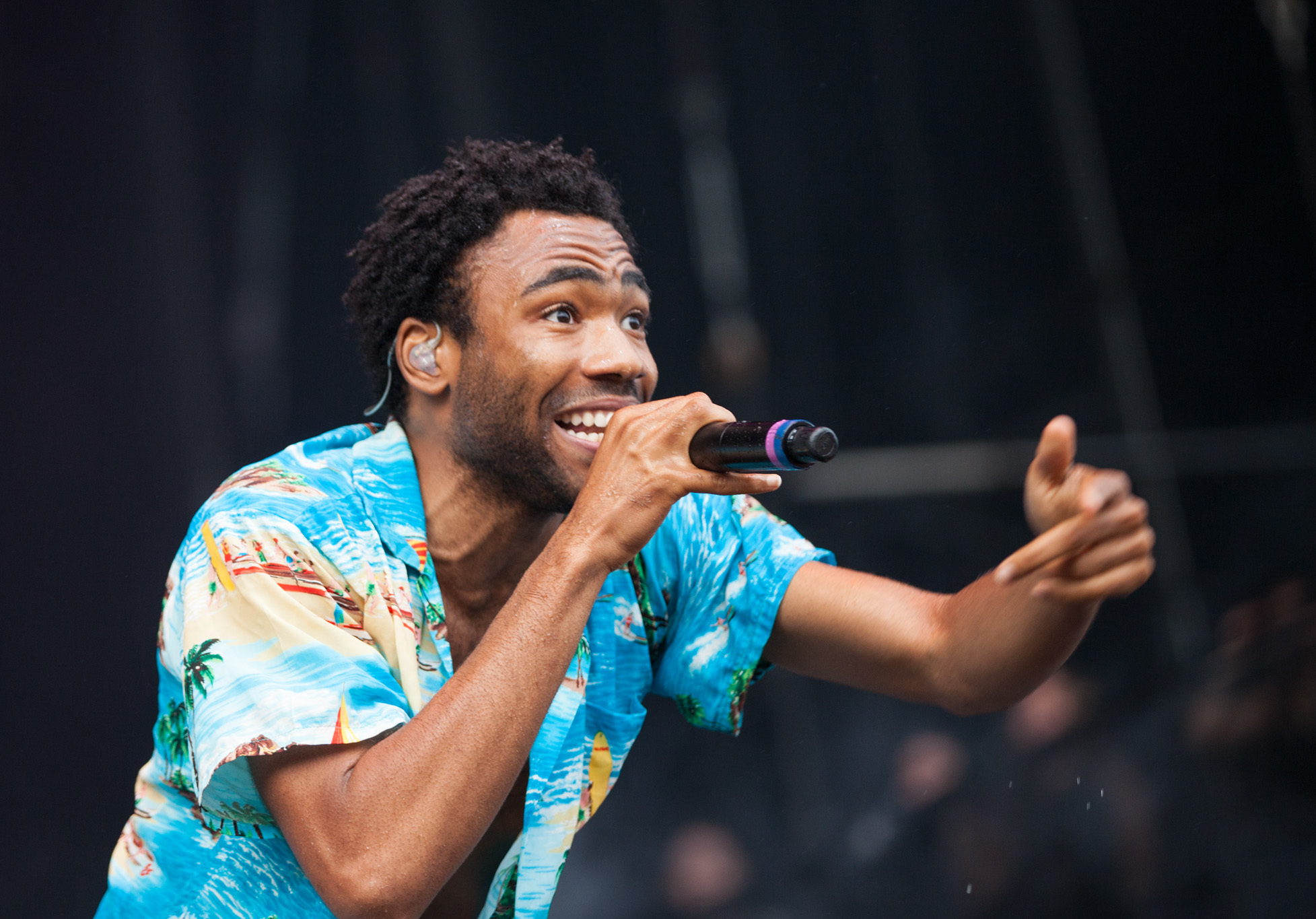 Childish Gambino hits the stage in Grant Park to play a sold-out Lollapalooza Music Festival 2014.