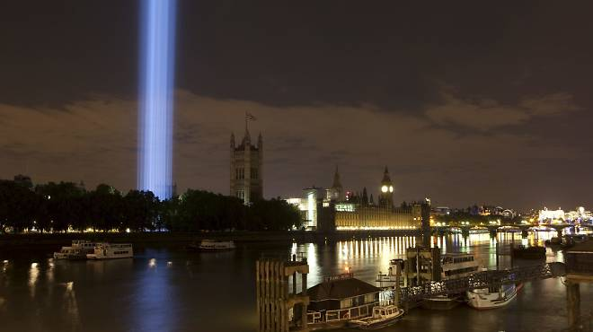 'Spectra', 2014, by Ryoji Ikeda, view from Lambeth Bridge by Olivia Rutherford