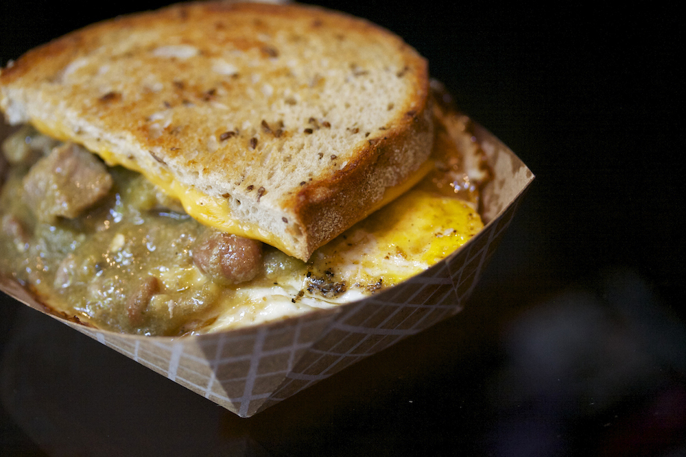 New Mexican Hatch green chili with a fried egg
