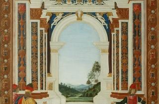 (Le Pérugin, 'Saint Bernardin soigne d'un ulcère la fille de Giovanni Antonio Petrazio da Rieti', Pérouse, 1473 / © Courtesy de la Soprintendenza BSAE dell'Umbria-Perugia)