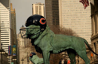 The Art Institute of Chicago lions celebrate the Super Bowl