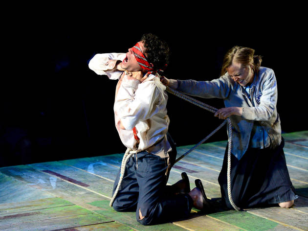 John TaflanandErin BarlowinThe Hypocrites' All Our Tragic at the Den Theatre