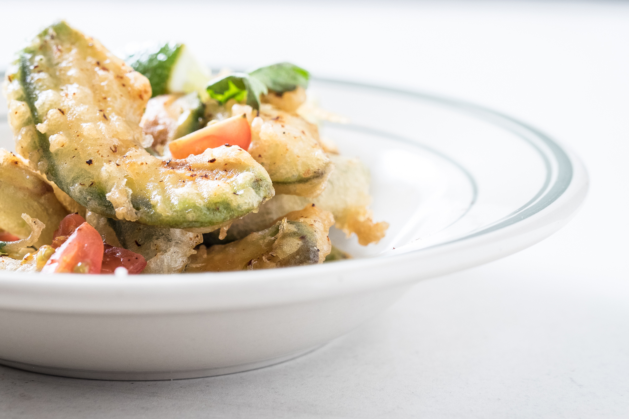 <p>Tempura-fried avocado with lime and chili is on the menu at mfk.</p>