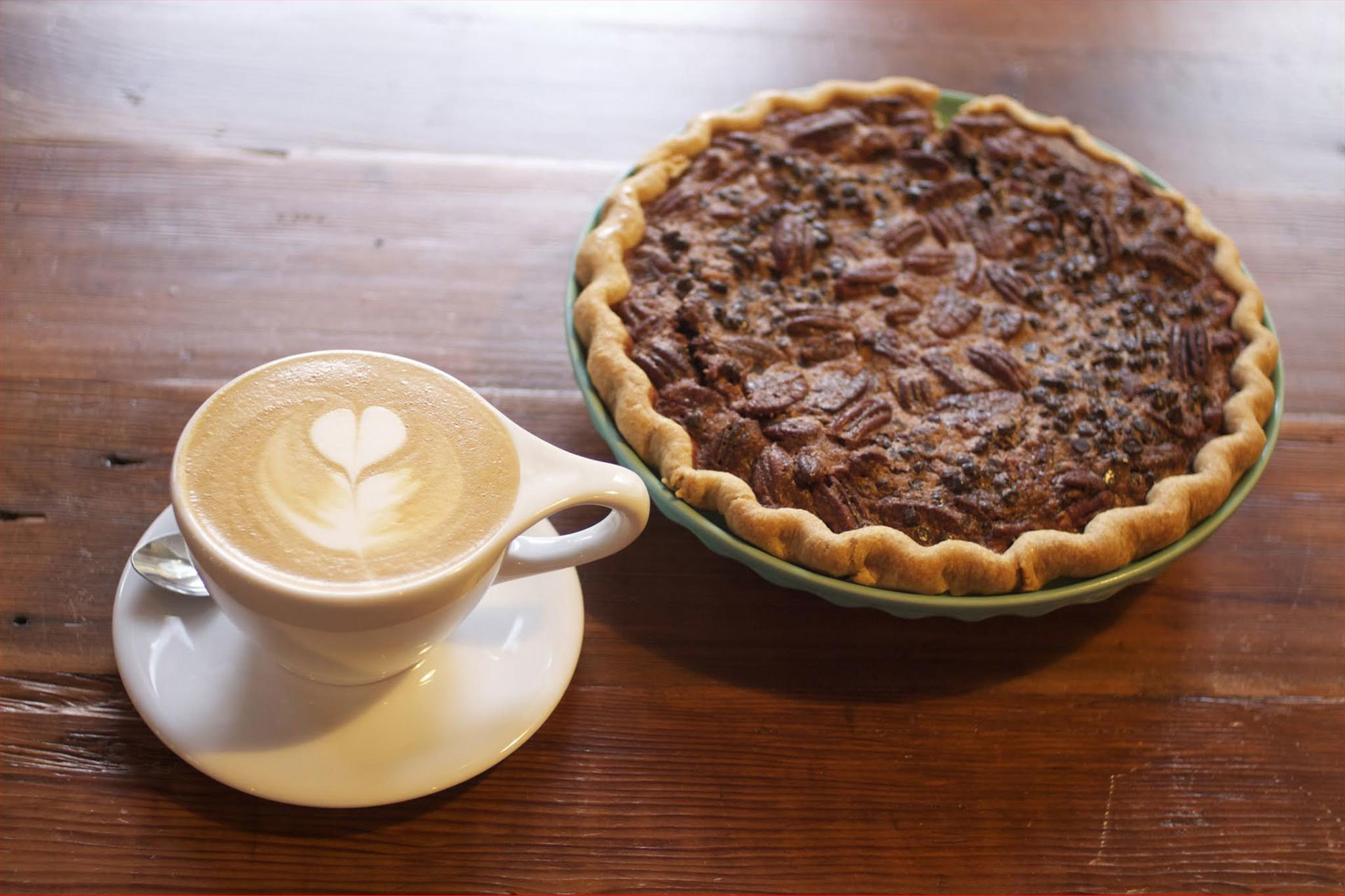 Cappuccino and pecan pie at Republic of Pie.