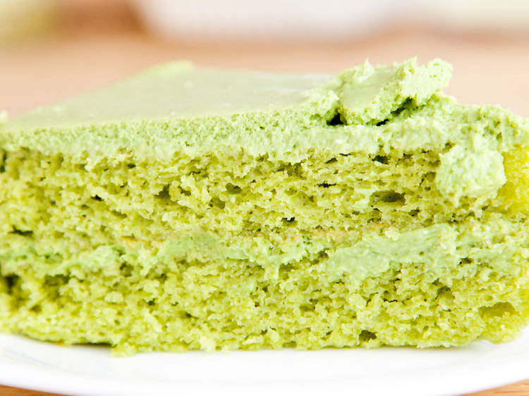 Pastel vegano de té verde