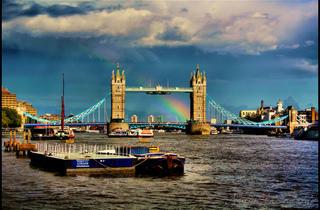 Rainbow behind Tower Bridge