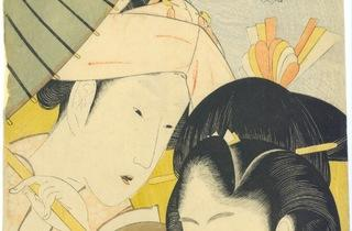 (Katsushika Hokusai, 'Longue vue', de la série 'Sept manies des jeunes femmes sans élégance', 1801-1804 / © Galerie Sebastian Izzard LLC)