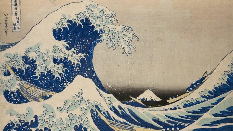 Katsushika Hokusai, 'Dans le creux d'une vague au large de Kanagawa', de la série 'Trente-six vues du mont Fuji', c. 1830-1834 / © © Musées royaux d'Art et d'Histoire, Bruxelles