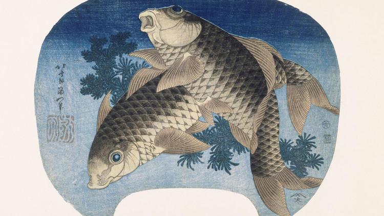 Katsushika Hokusai, 'Deux carpes', 1831 / © Rmn-Grand Palais (musée Guimet, Paris) / Thierry Ollivier