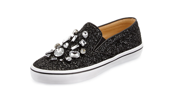 Kate Spade slater glitter & crystla slip-on sneaker, $250 at neimanmarcus.com