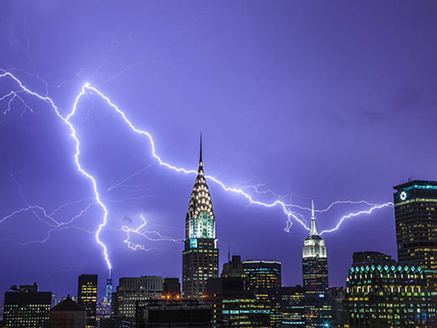 Lightning strikes the World Trace Center, July 2, 2014