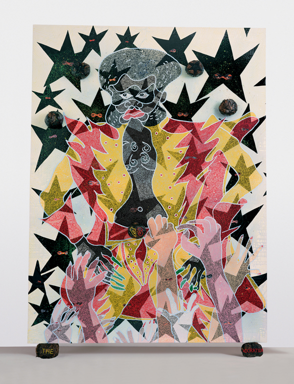 Chris Ofili, The Adoration of Captain Shit and the Legend of the Black Stars (Third Version), 1998