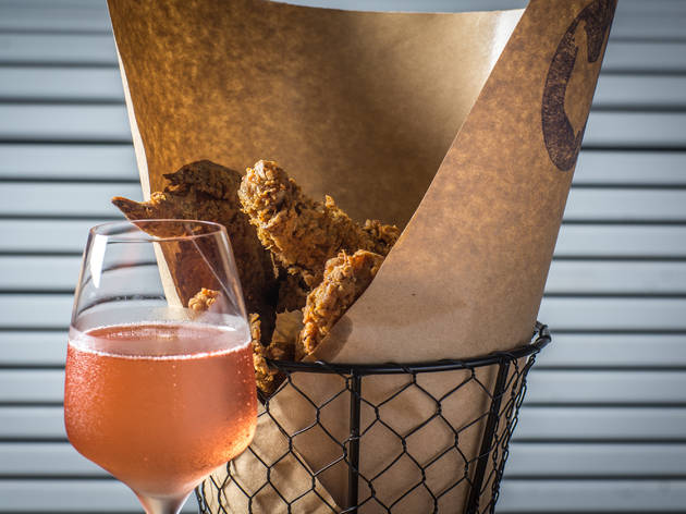 Pair fried chicken with champagne at Birds & Bubbles in the Lower East Side