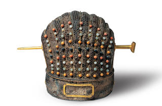 (Crown. Leather, woven bamboo, lacquer and semiprecious stones. c. 1380. Image courtesy of Shandong Museum)