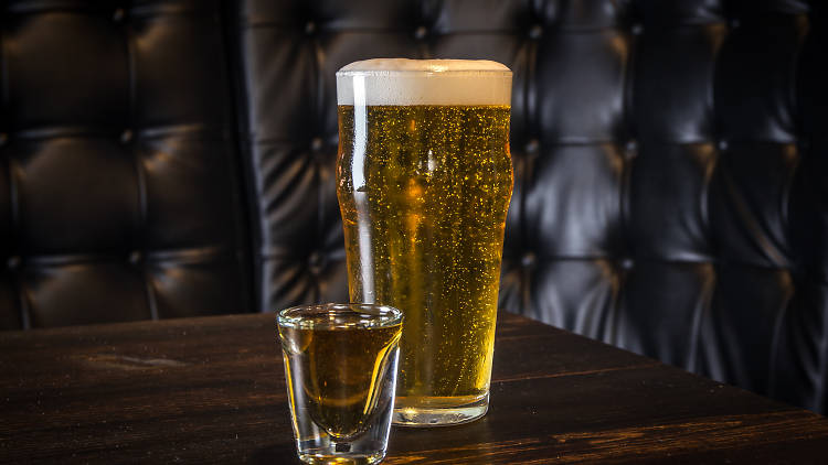 """BOILERMAKER """"national anthem"""" brooklyn lager and old grand-dad bonded bourbon"""