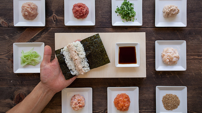 Hand roll ingredients at KazuNori Sushi