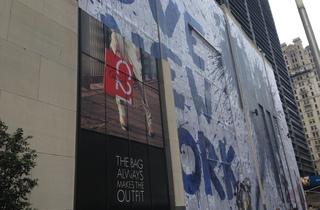Mr. Brainwash created a huge 9/11 mural outside the downtown Century 21 store