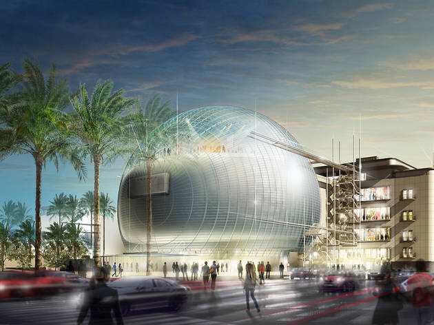 A rendering of the Academy Museum of Motion Pictures, which will be located next to LACMA and in the Wilshire May Company building.