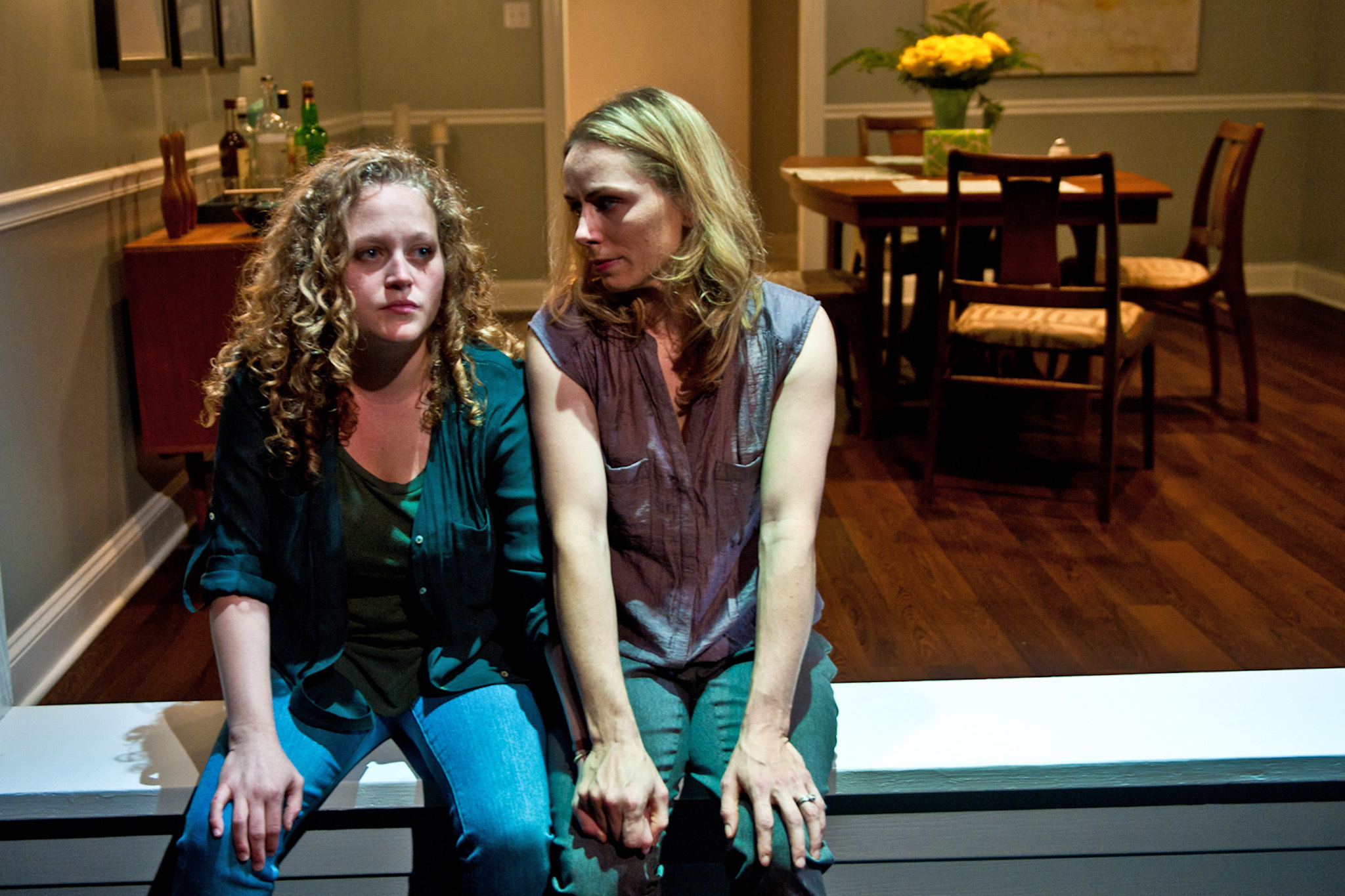 Caroline Neff and Brenda Barrie in The Downpour at Route 66 Theatre Company