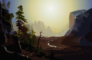 (Alain Bublex, 'Paysage 187 (fantôme de Albert Bierstadt, Yosemite Valley, Glacier Point Trail)', 2014 / Courtesy de l'artiste et galerie Georges-Philippe et Nathalie Vallois, Paris)