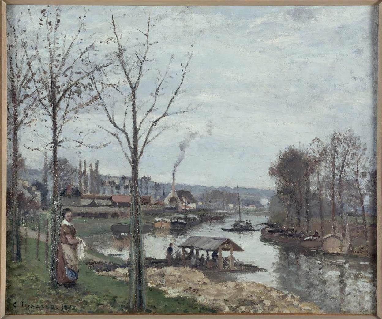 Camille Pissarro. La Seine à Port-Marly, le lavoir, 1872. Musée d'Orsay, París