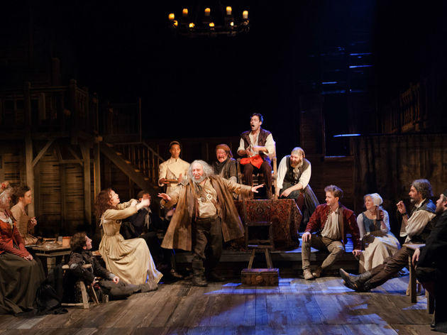 Cast ensemble in a tavern in Henry IV Parts 1 and 2