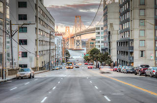 Harrison Street facing the Bay Bridge in SoMa