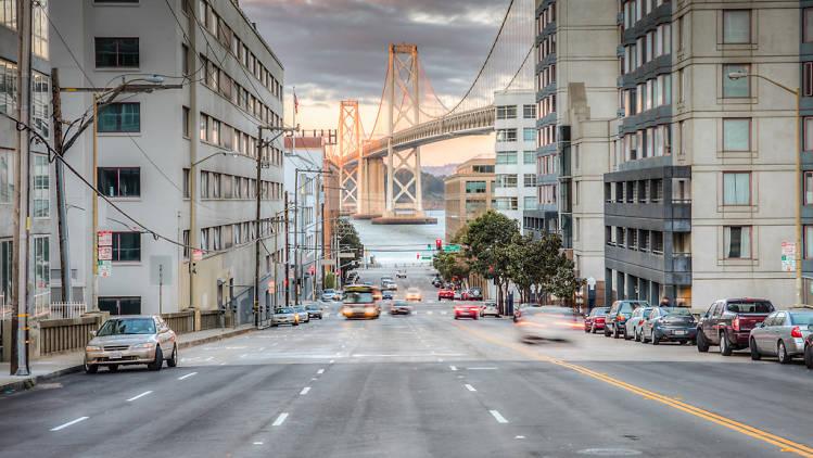 Harrison Street facing the Bay Bridge in SoMa