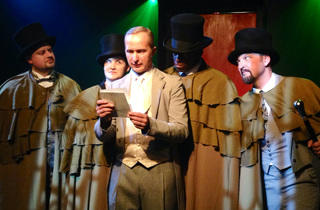 Brian Bengtson, Julie Cowden, Gary Barth, David Guy and Vincent P. Mahler in Dr. Jekyll and Mr. Hyde at Idle Muse Theatre Company