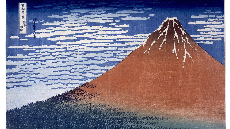 Katsushika Hokusai, 'Vent du sud, ciel clair [le Fuji rouge]', de la série 'Trente-six vues du mont Fuji', c. 1830-1834 / © The British Museum, Londres, dist. Rmn-Grand Palais