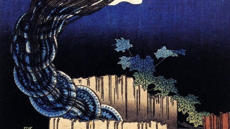 Katsushika Hokusai, 'Manoir aux assiettes', de la série 'Cent contes de fantômes', c. 1831-1832 / © Museum für Kunst und Gewerbe, Hambourg