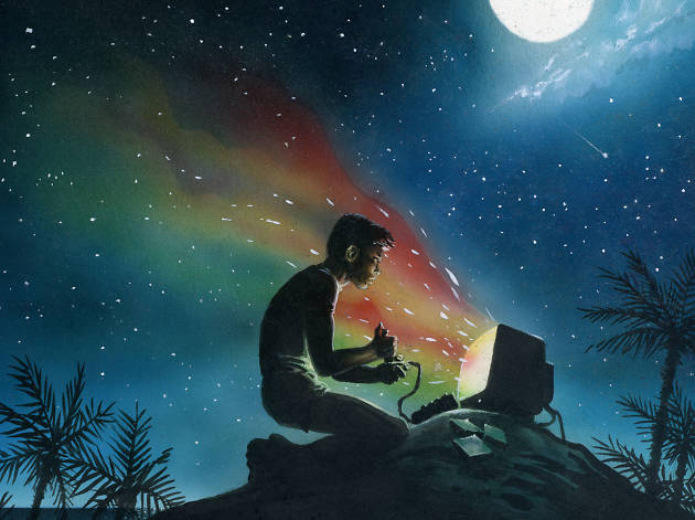 Playing a video game on a hill in the moonlight
