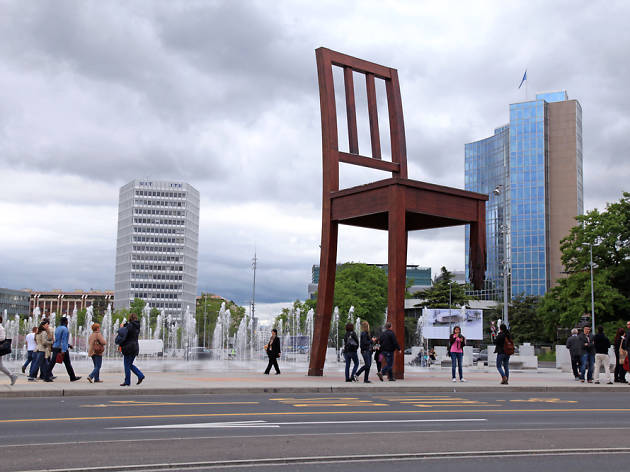 Chair sculpture, Geneva outside the United Nations
