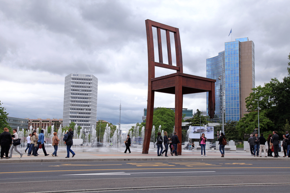 Chair Sculpture Geneva Outside The United Nations