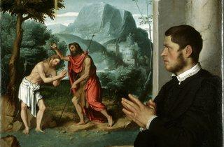 Giovanni Battista Moroni  ('A Gentleman in Adoration before the Baptism of Christ', c.1555-60 )