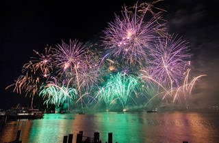 Fireworks over Lake Leman, New Years, Fete de Geneve