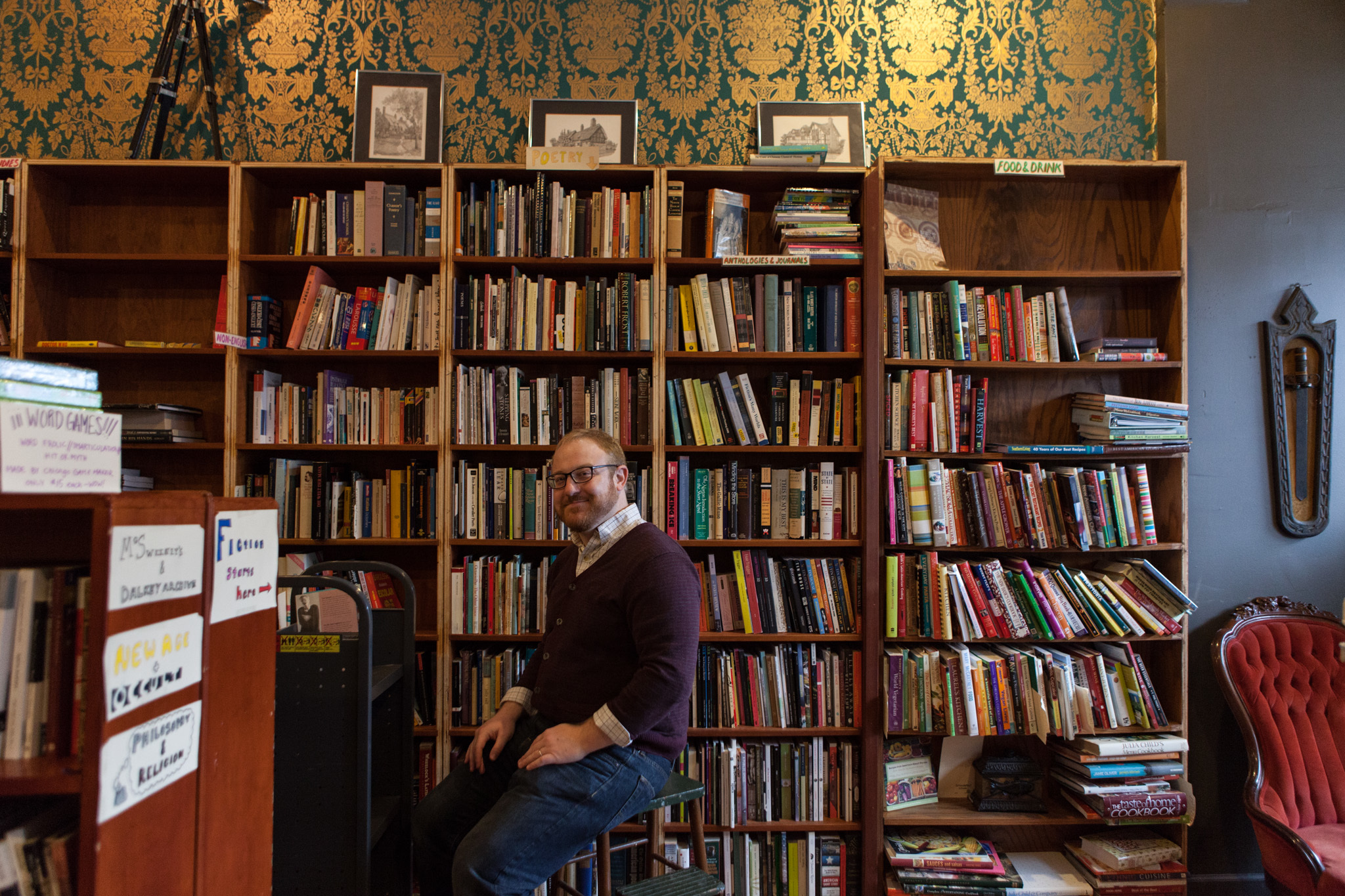 Owner Tanner McSwain at Uncharted Books