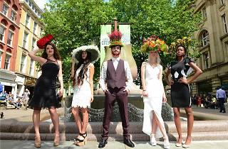 Flower hats on five models