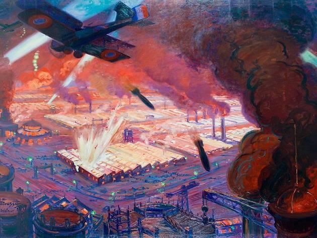 (Maurice Busset (1879-1936), 'Bombardement de Ludwigshafen', 1918 / © Paris, musée de l'Armée)