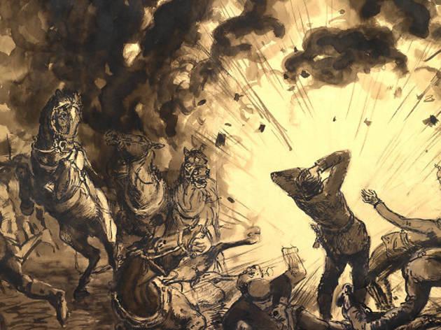 (Karl Lotze (1892-1972), 'Attelage dans une explosion d'obus', 1915 / © Nanterre, Bibliothèque de documentation internationale contemporaine)