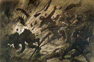 (Georges Scott (1873-1943), 'Effet d'un obus dans la nuit ou La Brèche', avril 1915 / © Paris, musée de l'Armée)